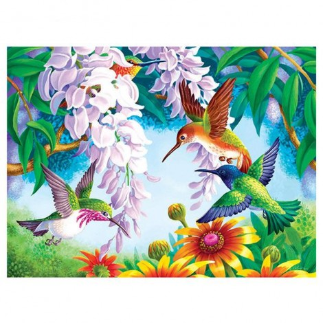 Birds, Flowers, and Trees 5D DIY Paint By Diamond Kit