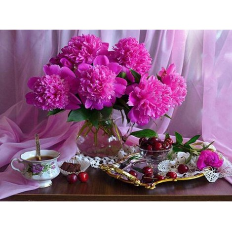 Flowers On Table 5D DIY Paint By Diamond Kit