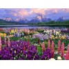 Flower and mountain 5D DIY Paint By Diamond Kit