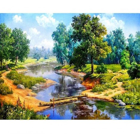 Forest Lake Scenery  5D DIY Paint By Diamond Kit