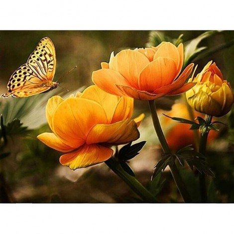 Butterfly With Flower 5D DIY Paint By Diamond Kit