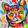 Colorful Cat 5D DIY Paint By Diamond Kit