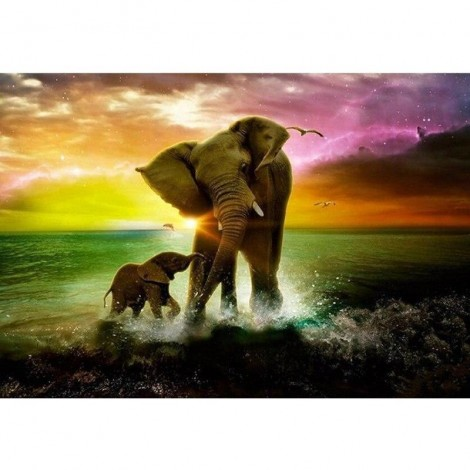 Elephant Family 5D DIY Paint By Diamond Kit